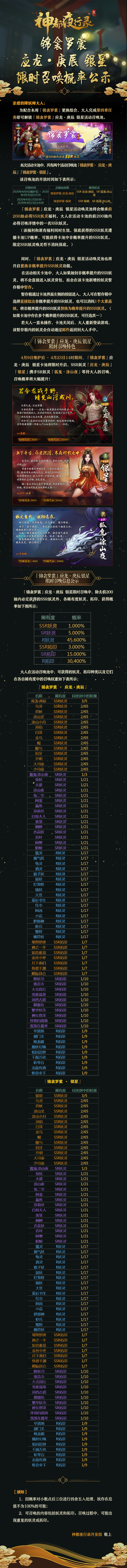 4.8锦衾罗裳-应龙·庚辰-银星-限时召唤概率公示