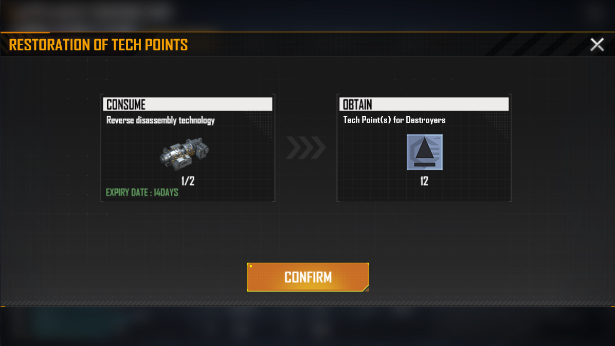 Preview of the New Feature: Restoration of Tech Points